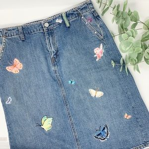 2003 GAP Butterfly Embroidered Denim Skirt Size 8